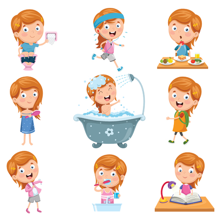 Vector Illustration Set Of Little Girl Daily Routines