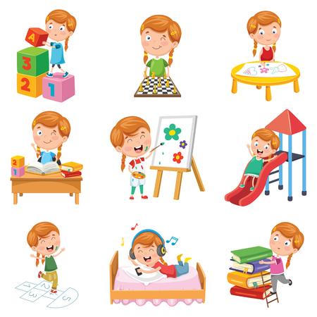 Illustration vectorielle de petite fille jouant Vecteurs