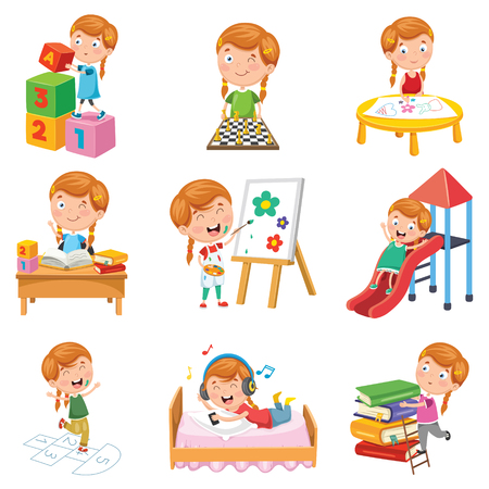 Vector Illustration Of Little Girl Playing Çizim