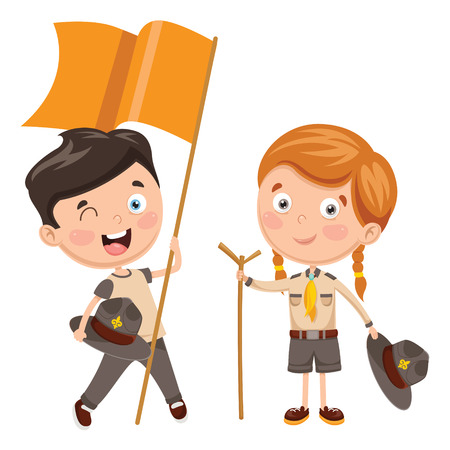 Vector Illustration Of Scout Children Illustration