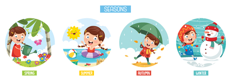 Vector Illustration Of Seasons Standard-Bild - 104078137