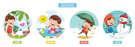 Vektor-Illustration der Jahreszeiten