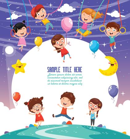 Vector Illustration Of Children Swinging Illusztráció