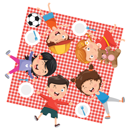 Vector Illustration Of Children's Picnic