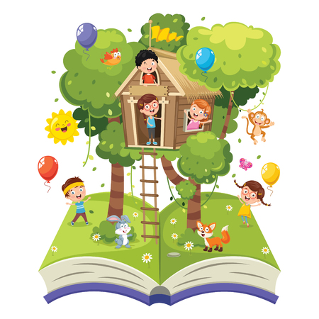 Vector Illustration Of Children Vettoriali