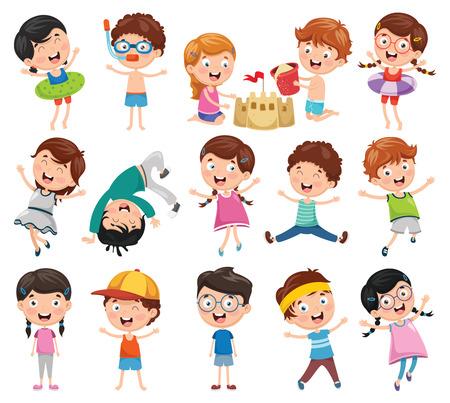 Vector Illustratie Van Cartoon Kinderen