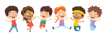 Ilustracja wektorowa kreskówek dzieci