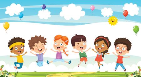 Illustration vectorielle d'enfants de dessin animé