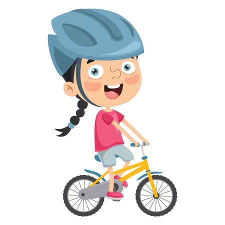 Vector Illustration Of Kid Riding Bike Illustration