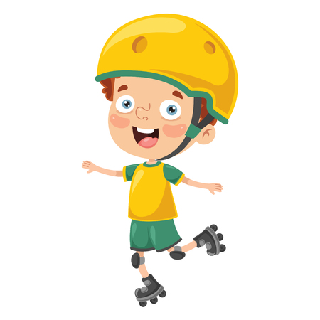 Vector Illustration Of Kid Roller Skating Vettoriali