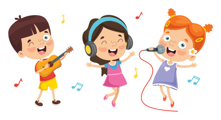 Vector Illustration Of Kids Playing Music Çizim