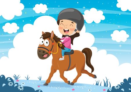 Vector Illustration OfChild Riding Horse Vector Illustratie