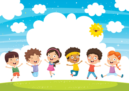 Happy Kids Playing Illustration