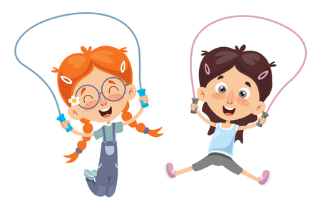 Vector Illustration Of Kid Skipping Rope Archivio Fotografico - 105063836