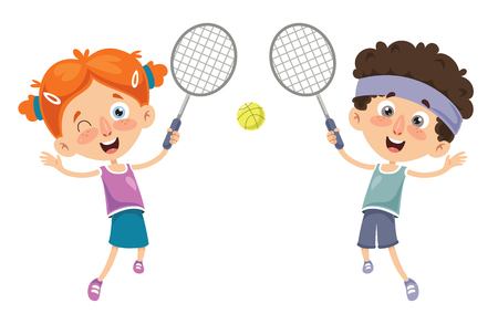 Vector Illustration Of Kid Playing Tennis Illustration