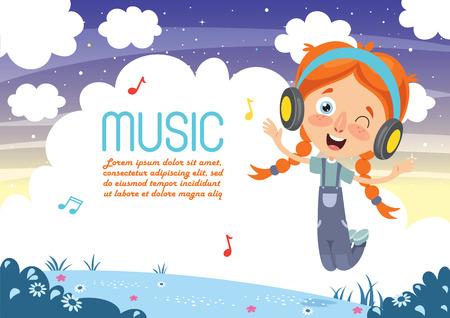 Vector Illustration Of Kids Music Illustration