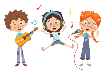 Vector Illustration Of Kids Music Çizim