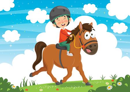 Illustrazione Vettoriale Di Bambino A Cavallo
