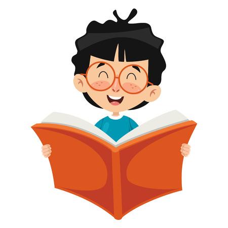 Vector Illustratie Van Kid Leesboek Vector Illustratie