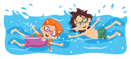 Vector Illustration Of Kid Swimming Çizim
