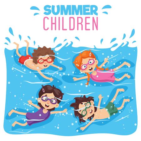 Vector Illustration Of Kid Swimming Illustration