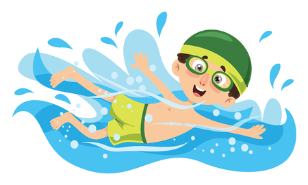 Vector Illustration Of Kid Swimming Ilustracja