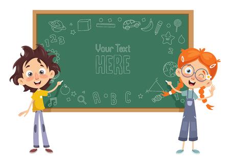 Vector Illustratie Van Kinderen Klaslokaal