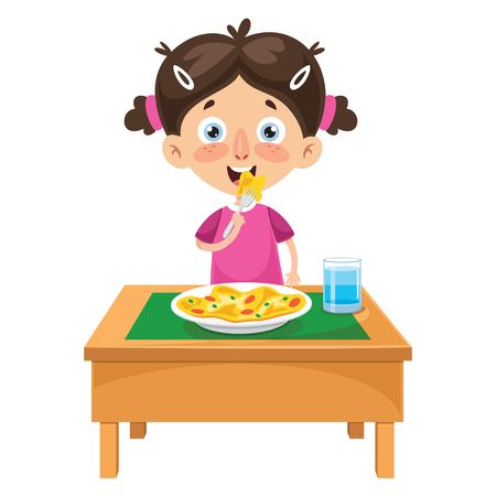 Vector Illustration Of Kid Cooking Meal