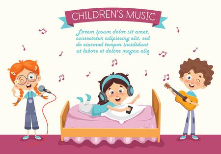 Vector Illustration Of Kid Listening Music Illustration