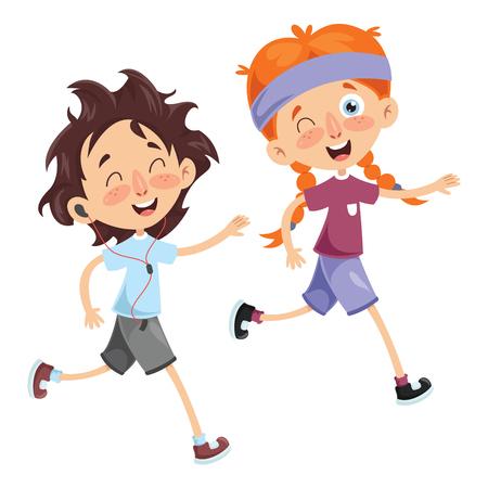 Vector Illustration Of Kid Running