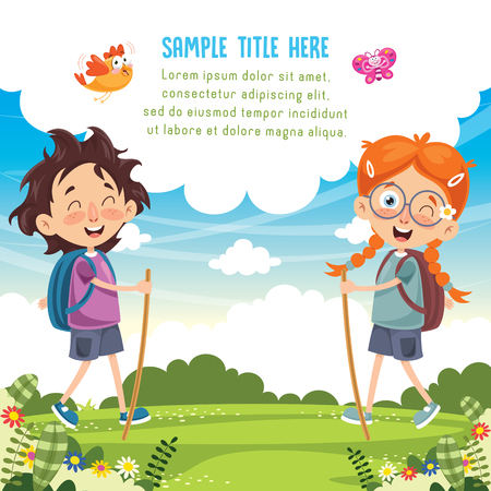 Vector Illustration Of Kid Trekking