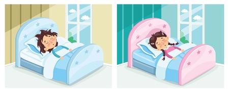 Vector Illustration Of Kid Sleeping Illustration