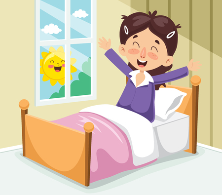 Vector Illustration Of Kid Waking Up Vector Illustration