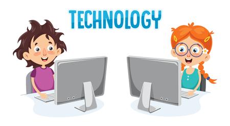 Illustration Of Kid With Computer Ilustracja