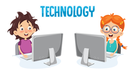 Illustration Of Kid With Computer Illustration