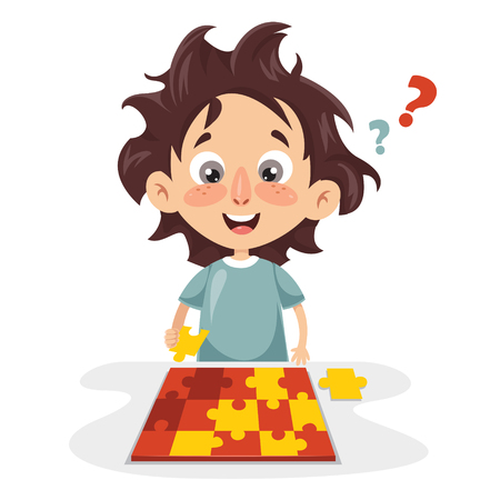 Illustration Of Kid Playing Puzzle