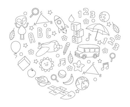 Vector Illustration Of Childish Sketch Background 일러스트