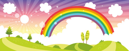 Vector Illustration Of Colorful Nature Scene