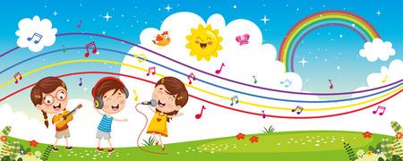 Vector Illustration Of Children Music Vetores