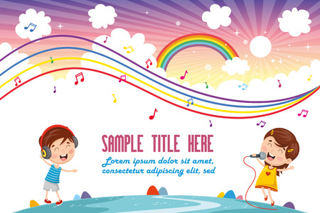 Vector Illustration Of Children Music