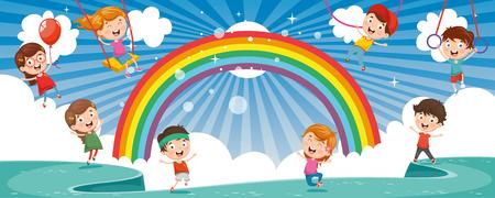 Vector Illustration Of Happy Children