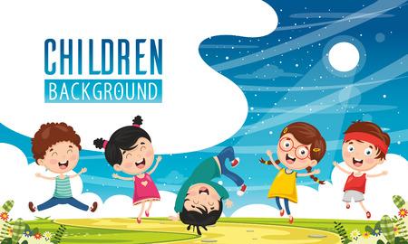 Vector Illustration Of Children Background Vektoros illusztráció