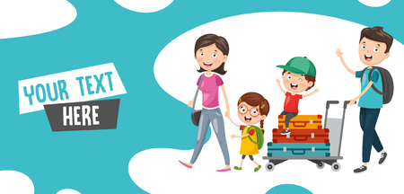 Vector Illustration Of Family Travelling  イラスト・ベクター素材
