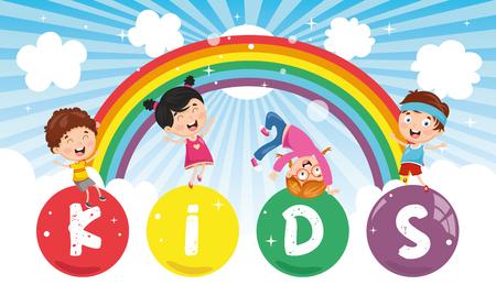 Vector Illustration Of Kids Colorful Landscape Stockfoto - 112470012