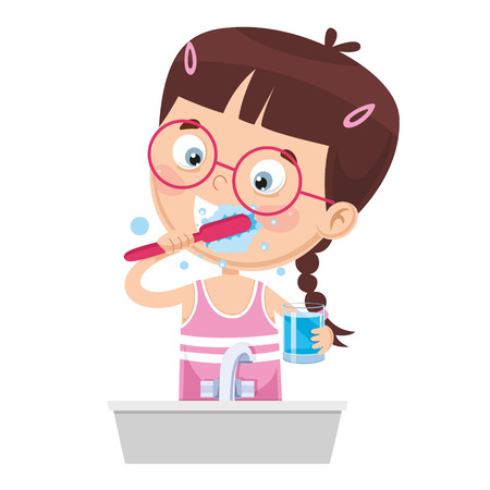 Illustration vectorielle de l'enfant se brosser les dents