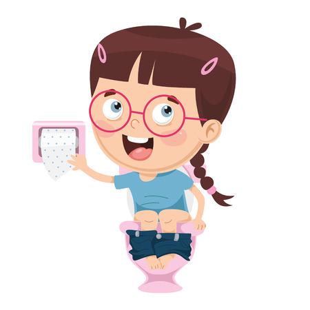 Vector Illustration Of Kid At Toilet Illustration