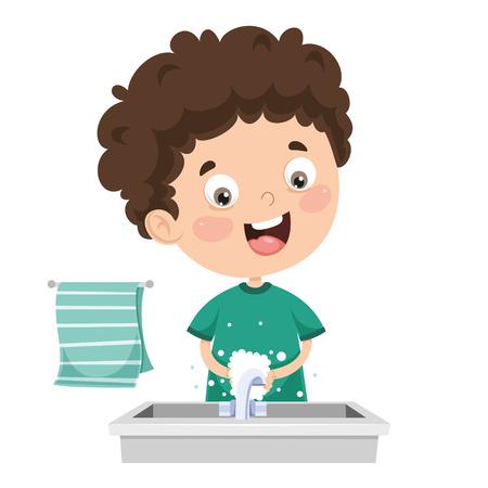 Ilustración de vector de niño lavándose las manos