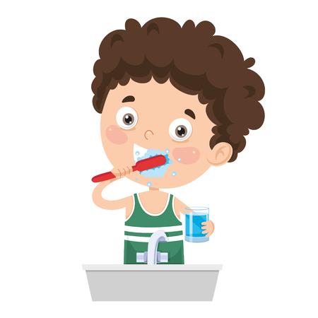 Vector Illustration Of Kid Brushing Teeth Vetores
