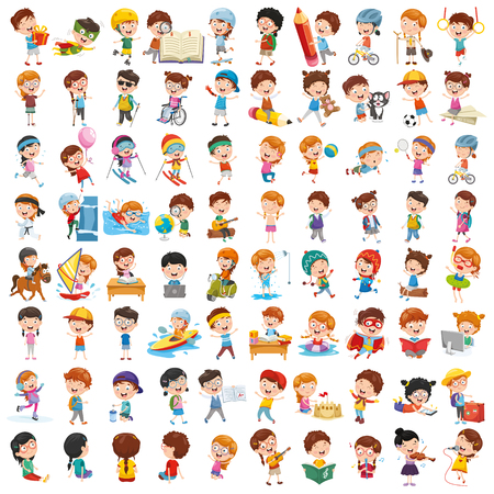 Vector Collection Of Cartoon Children Illusztráció