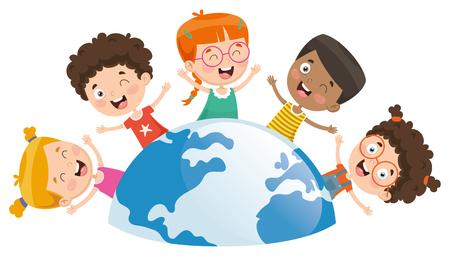 Illustration vectorielle d'enfants jouant autour du monde